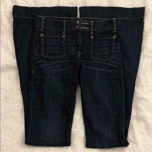 Express bell bottom flare dark wash jeans sz 0L